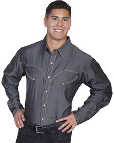 Scully Men's Long Sleeve Western Shirt, Charcoal Grey, hi-res
