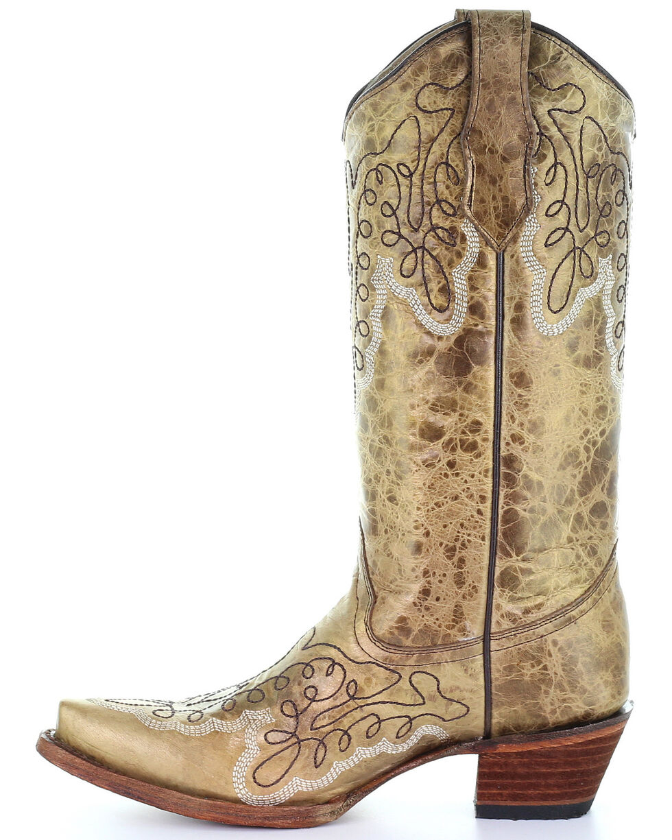 Corral Women's Gold Embroidery Western Boots - Snip Toe, Gold, hi-res