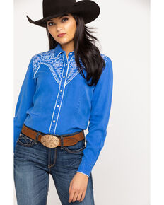 Rough Stock by Panhandle Women's Whipstitch Embroidered Yoke Long Sleeve Western Shirt, Blue, hi-res