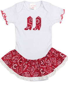 Baby Korral Infant Girl's Paisley Ruffle Onesie, Red, hi-res