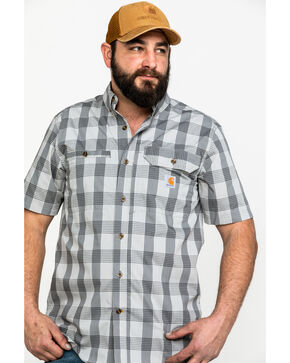 Carhartt Men's Grey Rugged Flex Rigby Plaid Short Sleeve Work Shirt - Big , Dark Grey, hi-res