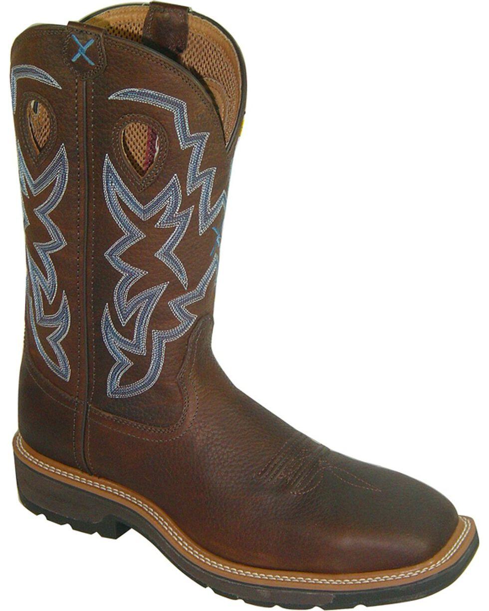 "Twisted X Men's 12"" Lite Cowboy Steel Toe Work Boots, Brown, hi-res"