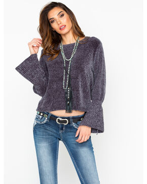 Elan Women's Charcoal Chenille Bell Sleeve Sweater, Charcoal, hi-res