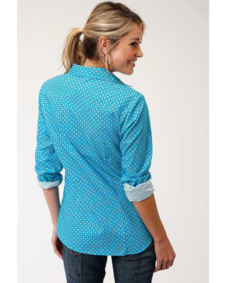 Amarillo Women's Turquoise Desert Sky Geo Print Long Sleeve Western Shirt , Turquoise, hi-res