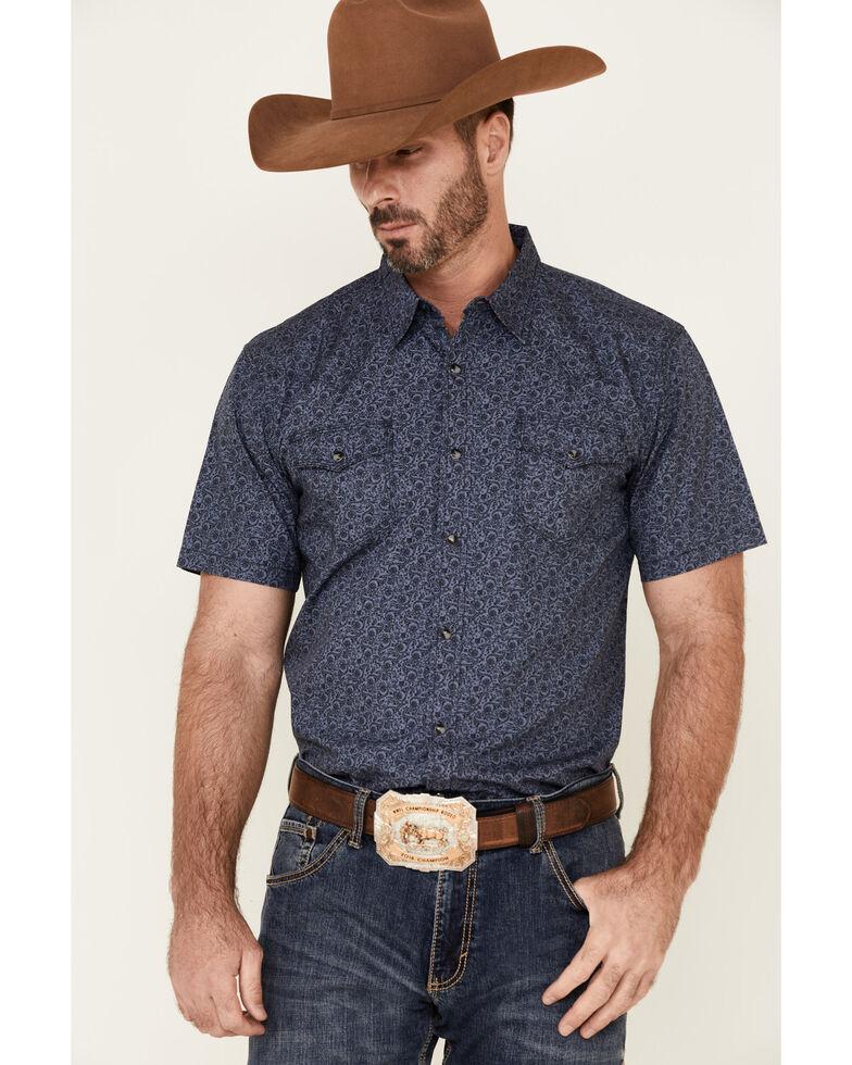 Moonshine Spirit Men's Tribal Paisley Print Short Sleeve Snap Western Shirt , Light Blue, hi-res