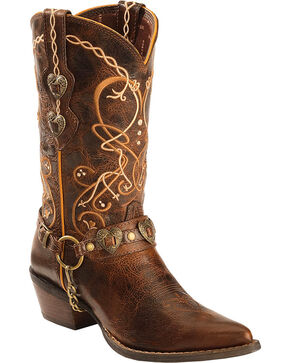 Durango Women's Boot Barn Exclusive Heart Concho Crush Western Boots, Brown, hi-res
