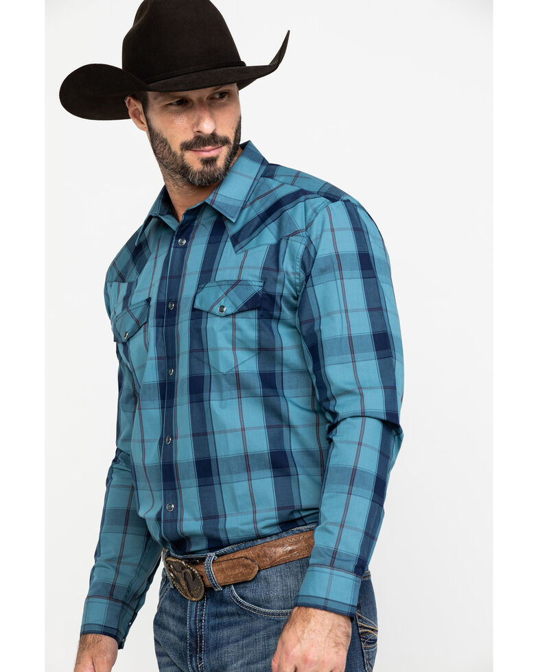 Gibson Men's Blue Large Plaid Snap Long Sleeve Western Shirt , Blue, hi-res