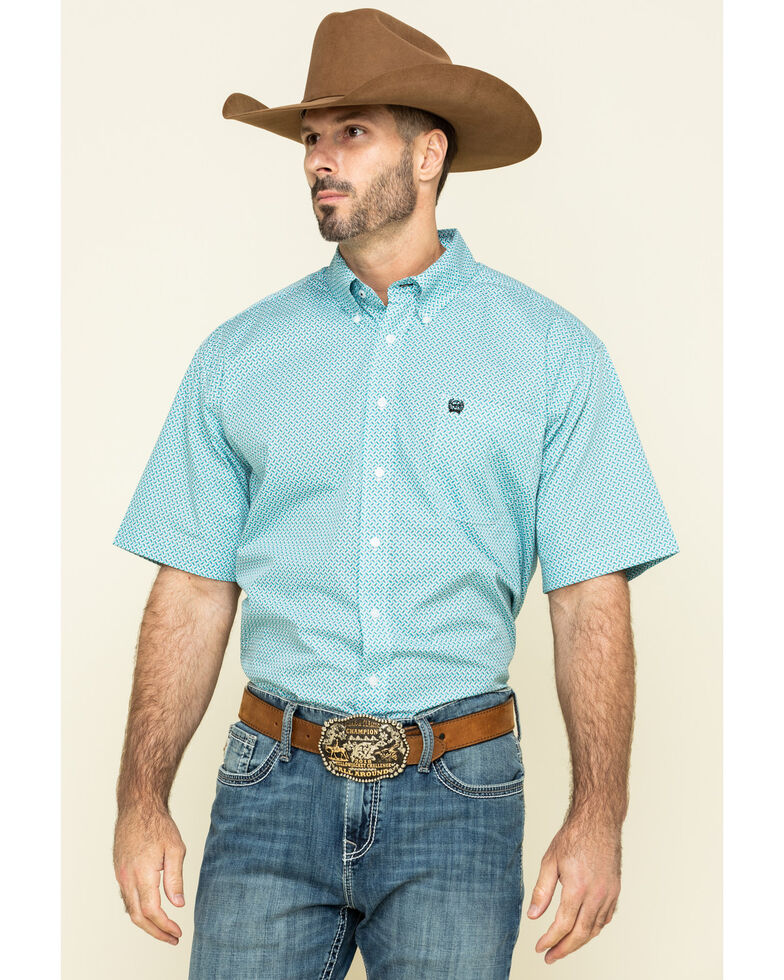 Cinch Men's Light Blue Geo Print Short Sleeve Western Shirt , Blue, hi-res