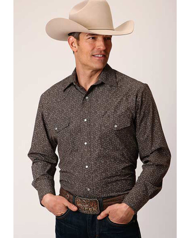 Roper Men's Cream Classic Floral Print Long Sleeve Western Shirt , Grey, hi-res