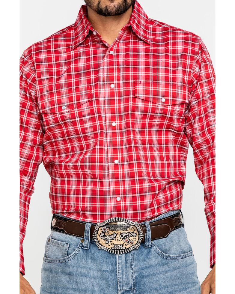 Wrangler Men's Wrinkle Resist Red Plaid Long Sleeve Western Shirt , Red, hi-res