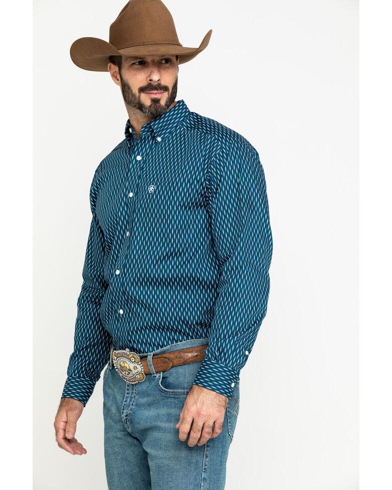 Ariat Men's Wrinkle Free Miramar Geo Print Long Sleeve Western Shirt - Big , Navy, hi-res
