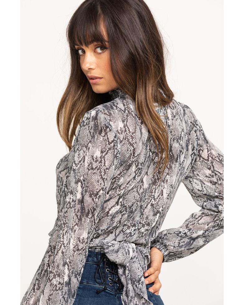 HYFVE Women's Grey Snake Print Tie-Up Top, Grey, hi-res