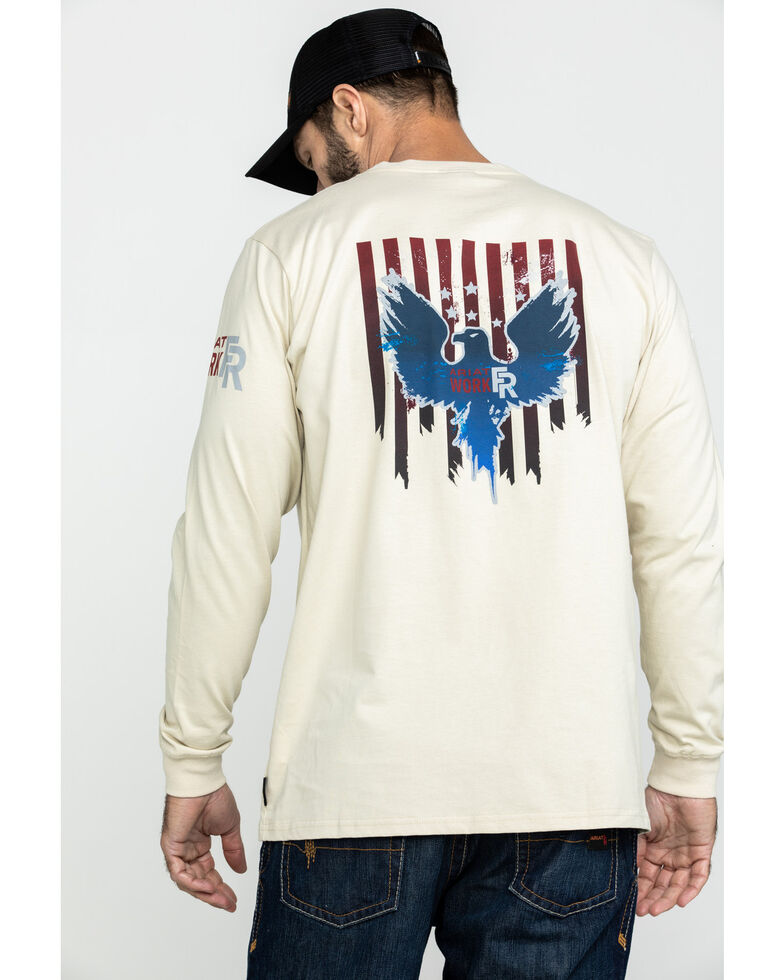 Ariat Men's FR Freedom Eagle Graphic Long Sleeve Work T-Shirt - Tall , Sand, hi-res