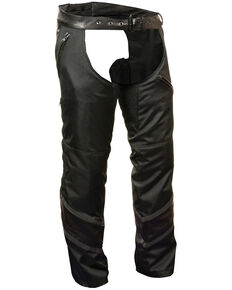 Milwaukee Leather Men's Leather Trim Snap Out Liner Vented Textile Chaps - 5XL, Black, hi-res