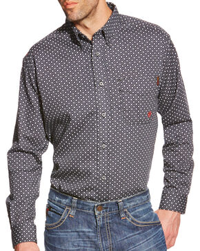 Ariat Men's FR Tyler Printed Long Sleeve Shirt, Black, hi-res