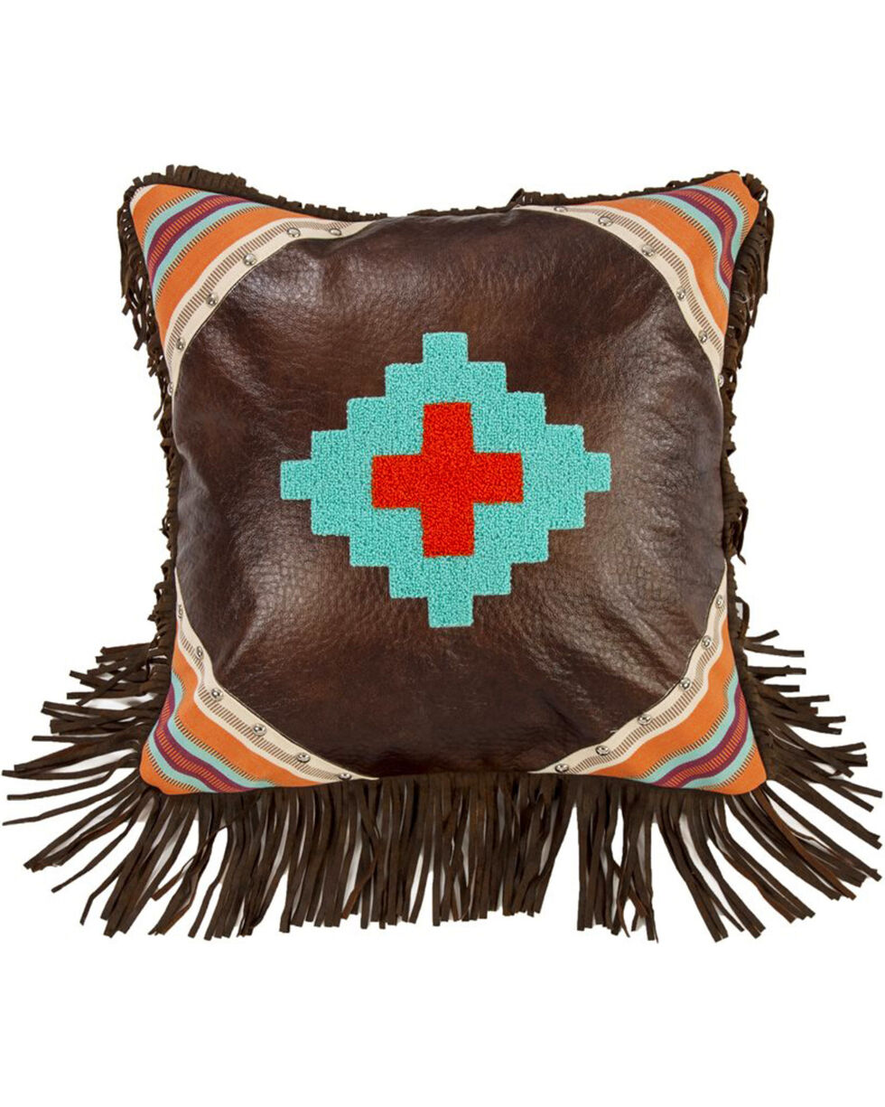 HiEnd Accents Brown Embroidered Aztec Fringe Pillow , Dark Brown, hi-res