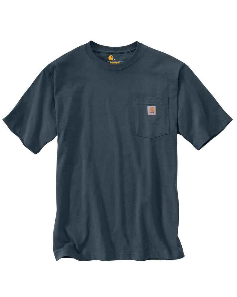 Carhartt Men's Solid Short Sleeve Pocket Work T-Shirt - Big & Tall, Blue Stone, hi-res