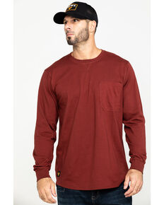 Hawx® Men's Red Pocket Long Sleeve Work T-Shirt - Tall , Red, hi-res