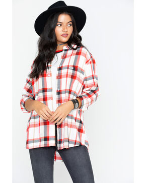 Wrangler Women's Modern Born Ready Boyfriend Fit Plaid Flannel Shirt, Red, hi-res