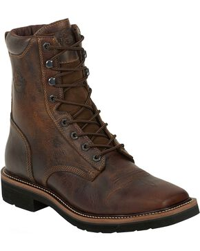"Justin Men's Stampede 8"" Lace-Up Stampede Work Boots, Rugged, hi-res"