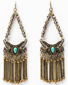 Shyanne Women's Gilded Gold Chandelier Earrings, Gold, hi-res