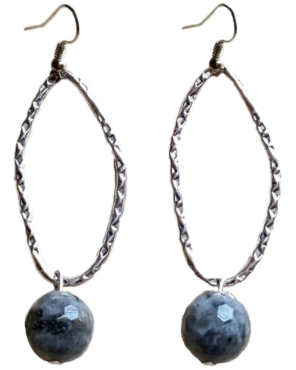Jewelry Junkie Women's Antique Silver Faceted Labradorite Beaded Earrings , Grey, hi-res