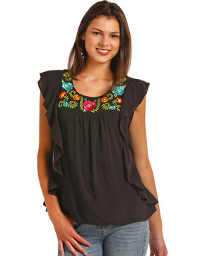 Rock & Roll Cowgirl Women's Mexicali Embroidered Tank, Black, hi-res