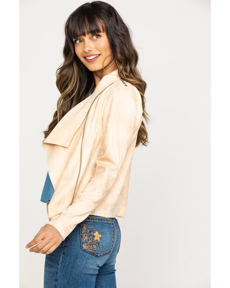 Shyanne Women's Faux Suede Embroidered Jacket, Stone, hi-res