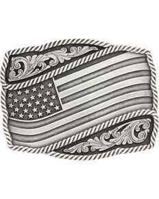 Montana Silversmiths Silver Waving American Flag Belt Buckle, Silver, hi-res