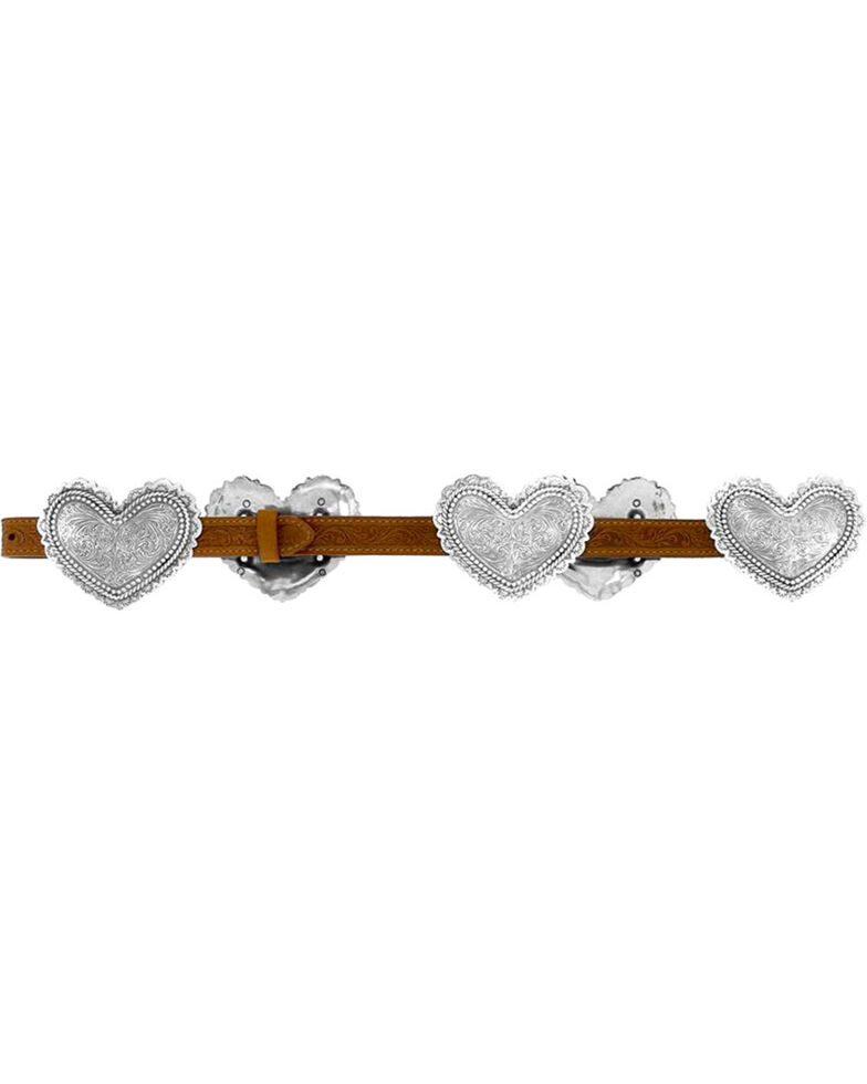 Justin Women's Filigree Heart Belt , Brown, hi-res