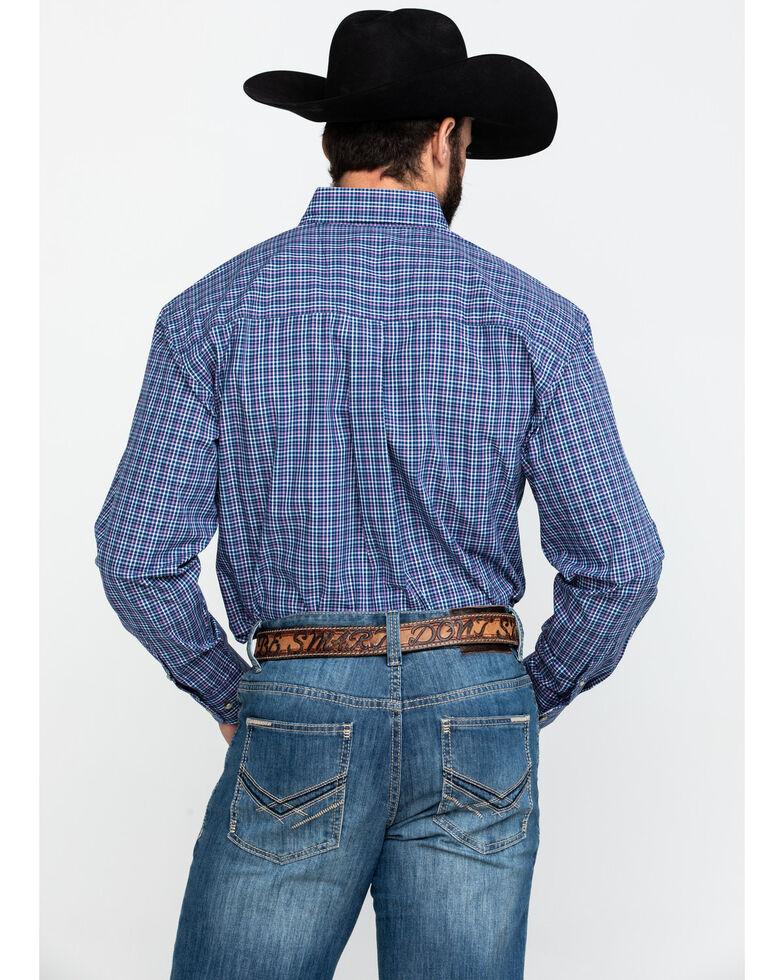 George Strait by Wrangler Men's Small Poplin Plaid Long Sleeve Western Shirt - Tall , Navy, hi-res