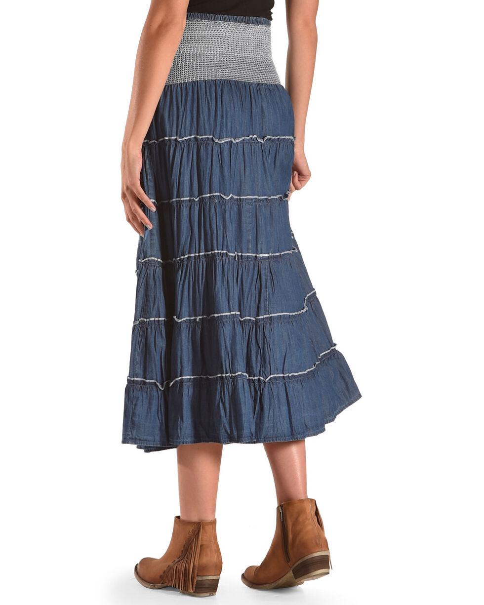New Direction Sport Women's Indigo Denim Ruffle Long Skirt , Indigo, hi-res