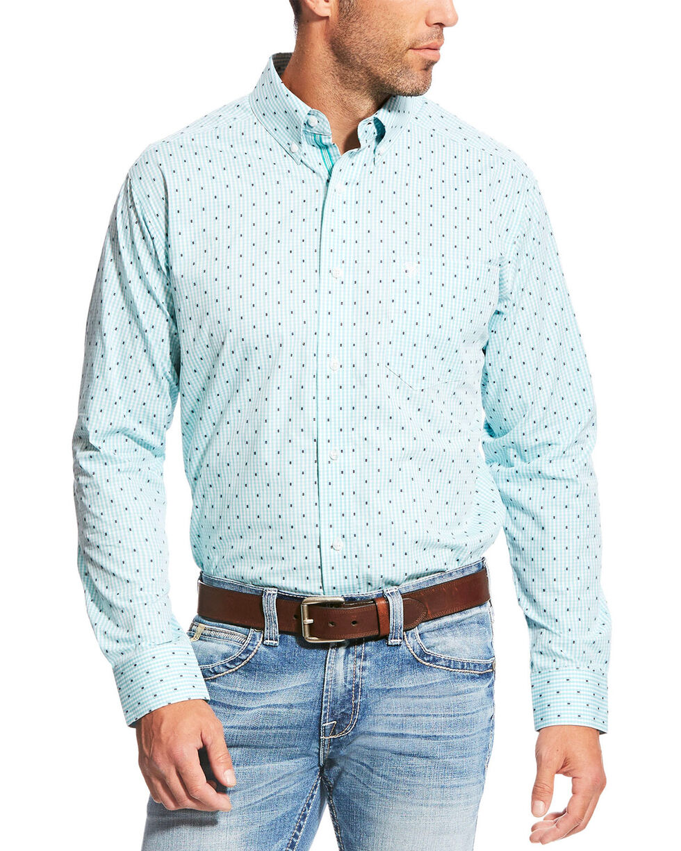 Ariat Men's Pro Series Slim Fit Maximillion Long Sleeve Button Down Shirt, Blue, hi-res