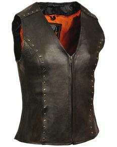 Milwaukee Leather Women's Studded Zip Front Vest, Black, hi-res