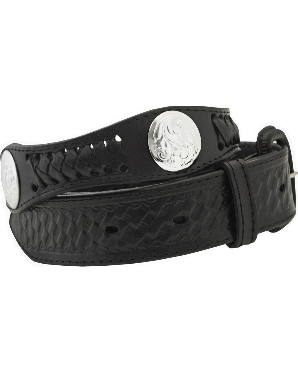 Western Express Men's Silver Concho Belt - Big, Black, hi-res
