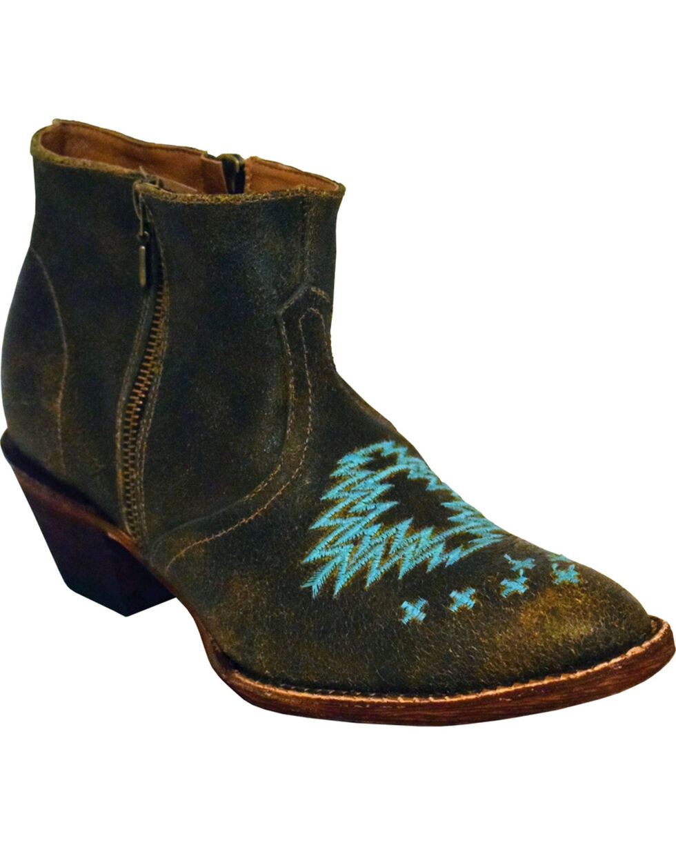 Ferrini Women's Dark Chocolate Aztec Embroidered Booties - Round Toe, Chocolate, hi-res