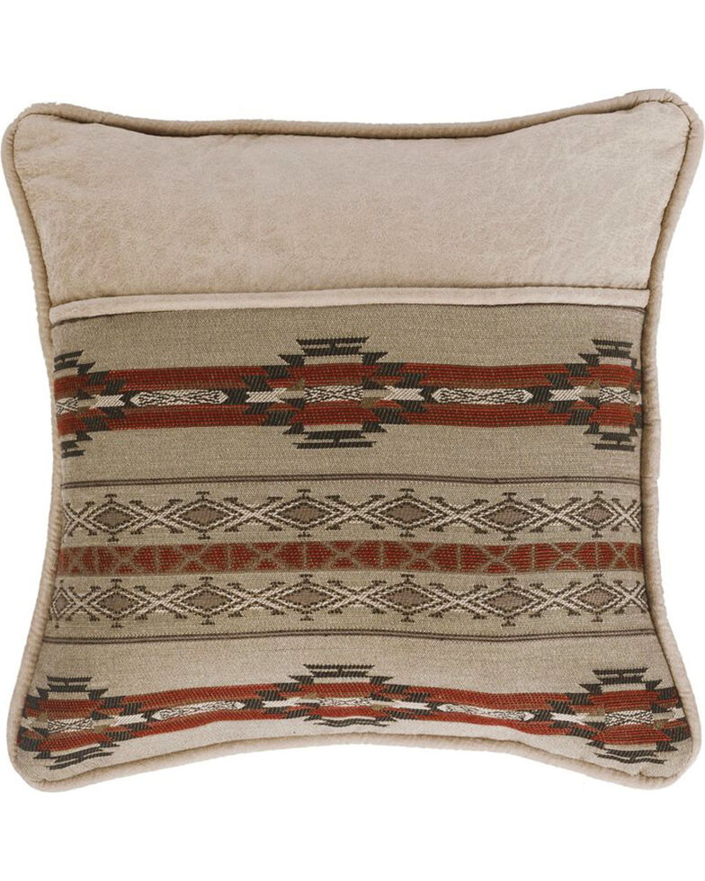 HiEnd Accents Silverado Print Faux Leather Edge Pillow , Multi, hi-res