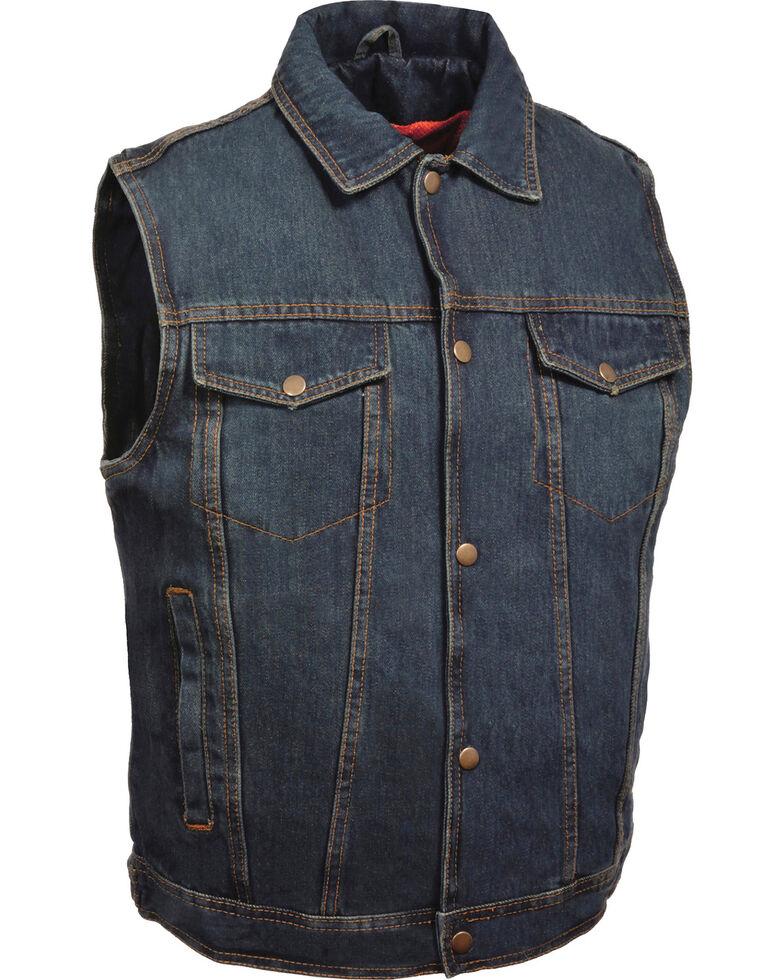 Milwaukee Leather Men's Snap Front Denim Vest w/ Shirt Collar- Big - 4X, Blue, hi-res