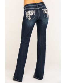 "Grace in LA Women's Dark Wash Cross 34"" Bootcut Jeans , Blue, hi-res"