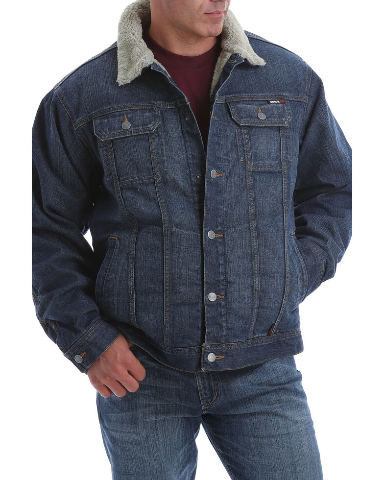 Cinch Men's FR Stretch Denim Sherpa Lined Trucker Work Jacket , Indigo, hi-res