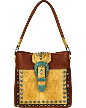 Montana West Women's Buckle Concealed Carry Hobo Purse , Brown, hi-res