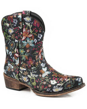 Roper Women's Ingrid Floral Western Booties - Snip Toe, Black, hi-res