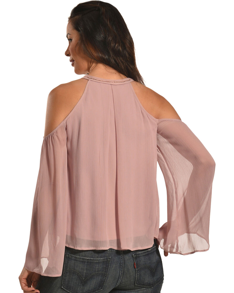 HYFVE Women's Chiffon Cold Shoulder Blouse with Tassel Tie, Mauve, hi-res