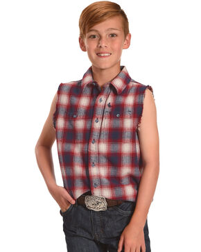 Cody James Boys' Bubba Patriot Sleeveless Shirt, Blue, hi-res