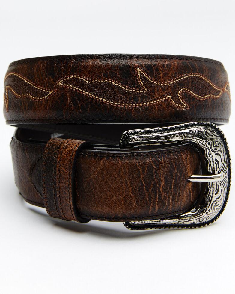 Cody James Men's Orange Stitched Belt, Brown, hi-res