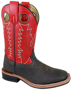 Smoky Mountain Boys' Blaze Western Boots - Square Toe, Red/brown, hi-res