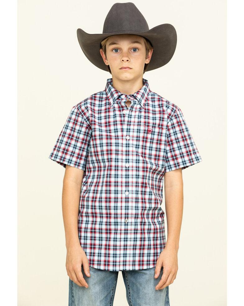 Ariat Boys' Newington Multi Plaid Short Sleeve Western Shirt , Multi, hi-res