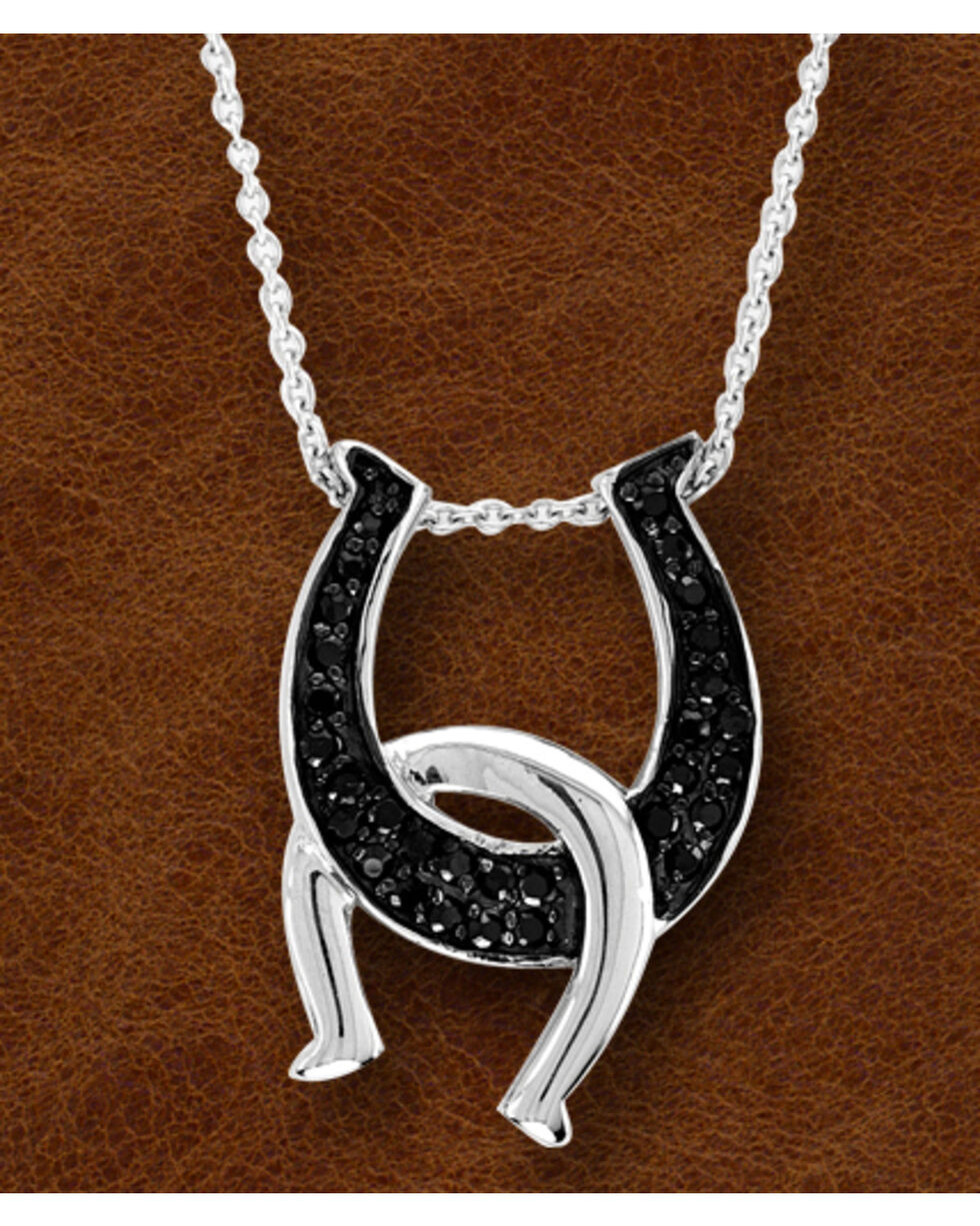 Kelly Herd Black Sterling Silver Double Horseshoe Necklace , Silver, hi-res