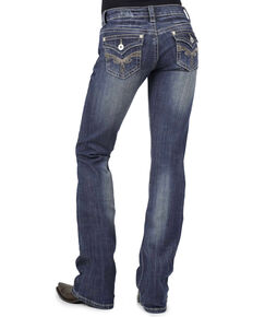 Stetson Women's 818 Fit Rhinestone Boot Cut Jeans, Denim, hi-res