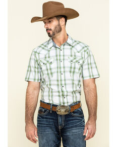 Cody James Men's Woodlands Large Plaid Short Sleeve Western Shirt - Big , White, hi-res